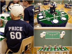 This was a 60th b-day party but I LOVE the AstroTurf on the tables! And the football jerseys with the name of the b-day boy on them!
