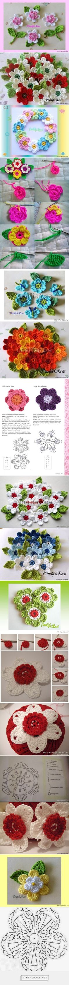 Flores de ganchillo Find and save knitting and crochet schemas simple recipes and other ideas collected with love Crochet Hearts Flower Crochet Crocheted Flower Crochet Wreath, Crochet Diy, Crochet Motifs, Crochet Flower Patterns, Crochet Squares, Love Crochet, Irish Crochet, Crochet Designs, Crochet Crafts