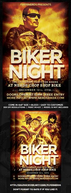 biker night gathering party flyer motorcycle clubsflyer templatepartiesnightevent