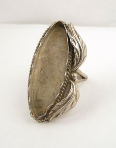 Sterling Silver Leaf Accent Cabochon Ring by CastoGemstones, $22.00