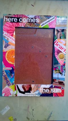 summer collage picture frame. Custom made picture frames and paintings available on etsy at CaseyAtCraft.