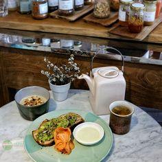 Food Blog Bali  Breakfast idea?  In this picture:  Creamy avocado toast with smoked salmon  Banana soy oatmeal porridge with cinnamon granola oats & goji berries  Sweet light creamy & fresh way to start your day.    @homematestore  Jl. Petitenget #seminyak    #Breakfast #avocado #salmon #banana #granola