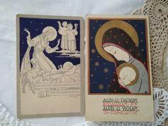2 pcs. artistic, religious postcards, Blessed Virgin, Child Jesus 1940s' Vintage Postcards, 1940s, Religion, Blessed, Children, Artist, Ebay, Vintage Travel Postcards, Young Children