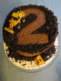 Construction Cake Bau Kuchen Boys 2nd Birthday Party Ideas Digger