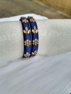Silk thread Kundan stone bangles Silk Thread Earrings Designs, Silk Thread Bangles Design, Silk Thread Necklace, Beaded Necklace Patterns, Gold Bangles Design, Thread Jewellery, Jewelry Patterns, Kundan Bangles, Silk Bangles