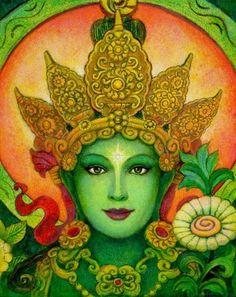 Grüne Tara Buddha Poster spirituelle Kunst buddhistische Göttin Meditation PRINT Gemäldes von Sue Halstenberg