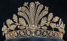 The Swedish vaults: the Napoleonic Cut-Steel Tiara; made of highly-polished cut steel in floral, feather, and leaf designs, set in gold. no gems.