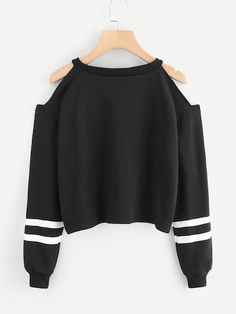 Cold Shoulder Varsity Striped SweatshirtFor Women-romwe - Sweat Shirt - Ideas of Sweat Shirt - Cold Shoulder Varsity Striped SweatshirtFor Women-romwe Girls Fashion Clothes, Teen Fashion Outfits, Girl Fashion, Girl Outfits, Trendy Fashion, Fashion Shoes, Crop Top Outfits, Cute Casual Outfits, Vetement Fashion