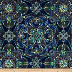 Lumina Metallic Medallion Peacock from @fabricdotcom  Designed by Peggy Toole for Robert Kaufman, this cotton print is perfect for quilting, apparel and home decor accents.  Colors include navy, shades of green, shades of blue, shades of purple and metallic gold.