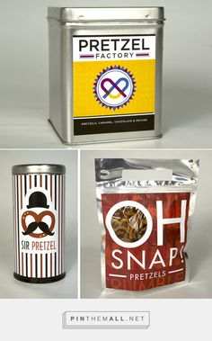Art direction, branding and packaging design for Pretzels! on Behance by Shanthony Exum Brooklyn, NY curated by Packaging Diva PD. Celebrate National Pretzel Day.
