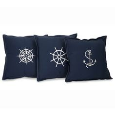 Nautical Embroidered Navy Blue Throw Pillows