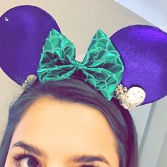 ✨ Little Mermaid Disney Ears ✨ Hand crafted Disney Minnie/Mickey ears in a Little Mermaid style. Bought on Etsy from a lady who makes professional ears! They are absolutely gorgeous. I glued in a plastic headband so I would stay in place on my head, it's not noticeable when it's worn. They are one of a kind. They have sea shells and sparkles to top it off.                                                                   Feel free to ask if you have any questions! NO TRADES! Thanks…