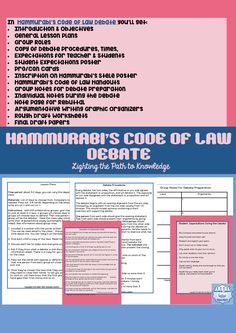THIS RESOURCE goes hand in hand with what is happening in our world today. Controversy over certain laws, the second amendment, equal rights, health care, etc. This hands on activity will help the kids to visualize what life was like during Hammurabi's re