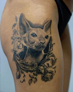 by Dominic Costoiu Tattoo Artist. Sphynx Cat Tattoo, Bucharest, Tattoo Artists, Cactus, Ink, Tattoos, Animals, Instagram, Tatuajes