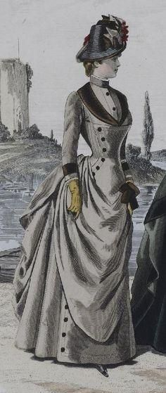 fashion plate -rows of buttons detail + tournure Victorian Gown, Victorian Costume, Victorian Steampunk, Edwardian Era, Victorian Ladies, 1880s Fashion, Edwardian Fashion, Vintage Fashion, Gothic Fashion