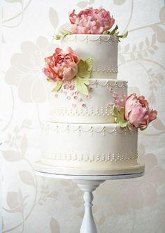 Wedding cake detail minus flowers