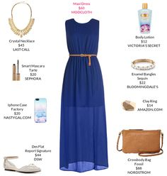 Take this maxi dress to the next level gold embellishments.  @modcloth @bloomingdales @dswshoelovers #maxidress #pointyflats #crossbodybag