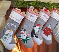 Whimsical, colorful characters and Christmas icons adorn this Quilted Stocking Collection for a bright and cheery addition to your holiday decor. They're hand-quilted and can be personalized so they make for a quality piece of holiday che Christmas Icons, Christmas Mood, Christmas Things, Christmas Goodies, Country Christmas, Quilted Christmas Stockings, Diy Stockings, Crafts For Kids, Arts And Crafts