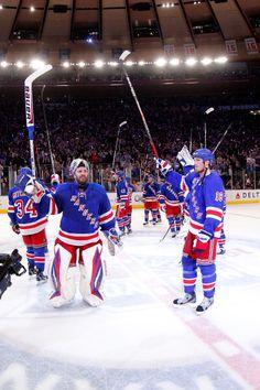 New York Rangers - Madison Square Garden in NYC --- Luv them Hockey Playoffs, Hockey Teams, Ice Hockey, Nhl, Rangers Game, Rangers Hockey, New York Rangers, Sheffield Steelers, Henrik Lundqvist