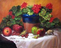 "Daily Paintworks - ""Geraniums and Apples"" - Original Fine Art for Sale - © Donna Munsch"