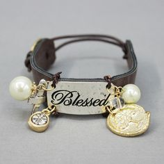 Blessed message tag leather charm bracelet from www.countrysoulbling.com