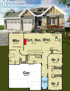 Architectural Designs Compact 3 Bed House Plan 62501DJ. Easy to build. Over 1,700 square feet of living. Ready when you are. Where do YOU want to build?: