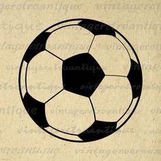 Printable Image Soccer Ball Graphic Download Soccer Digital Illustration Vintage Clip Art Jpg Png Eps 18x18 HQ 300dpi No.3968 @ vintageretroantique.etsy.com #DigitalArt #Printable #Art #VintageRetroAntique #Digital #Clipart #Download