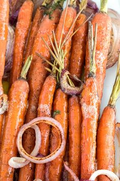 The natural sweetness in carrots has made me love them for as long as I can remember. I guess that's fitting for someone with a nickname like Bunny. Roasted Browned Butter Carrots are over the top delicious, I mean seriously… delicious.  Roasting carrots brings out even more of their sweetness and adds so much flavor.  Now imagine roasted onions and browned butter topping those naturally sweet and tender roasted carrots.  It's an absolutely amazing flavor combination that will have you…