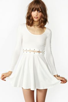 I'm more of a fan of her slightly messy hair. #cute. #fashion Laced Skater #Dress in White