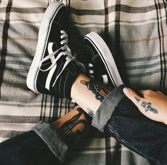 Vans, Vans Shoes, Vans SK8-HI Black/Black/White