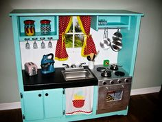 Planet of the Apels: DIY Play Kitchen & FF. This one has so many thoughtful details.