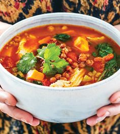 Moroccan Chicken and Vegetable Soup with Chickpea Croutons