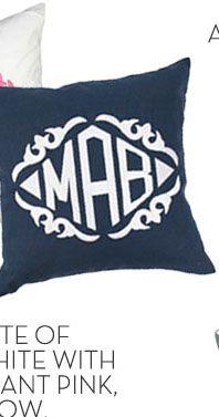 Navy Linen Throw Pillow by Luxury Monograms