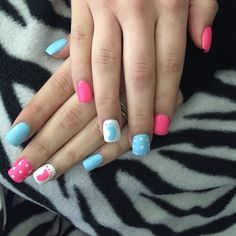 My nails for my gender reveal party. #genderannouncement #nails