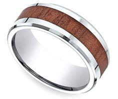 Rosewood Inlay Men's Wedding Ring in Cobalt | Thumb 01