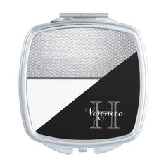 Black White Metallic Mesh Geometric Pattern Makeup Mirror ($19) ❤ liked on Polyvore featuring beauty products, beauty accessories, monogram and mirror