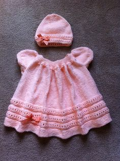 Free knitting patterns for matching Peachy baby dress and hat pattern by Geetanjali Doshi with lace eyelet details