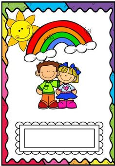 kids rainbow cover page Borders For Paper, Borders And Frames, Education Positive, Art Education, First Day Of School, Pre School, School Border, Teacher Must Haves, School Clipart