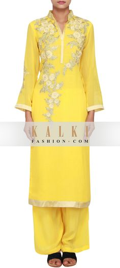Buy Online from the link below. We ship worldwide (Free Shipping over US$100)  http://www.kalkifashion.com/featuring-yellow-georgette-straight-cut-suit-embellished-in-zari-only-on-kalki.html