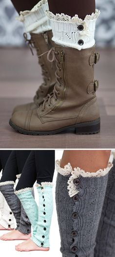 Leg Warmers for girls. My daughter is going to be in heaven! These button and lace leg warmers are so so so cute!
