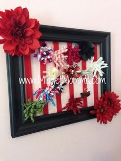Hairbow holder made with a picture frame. Easy to customize and make match your girls room perfectly! #hairbows #DIY #homedecor #kidsrooms #easydiy