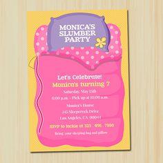 Slumber Party Birthday Custom Printable Invitation