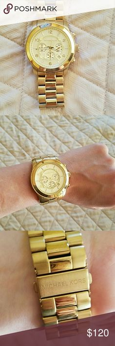 Michael Kors gold watch Michael Kors gold watch  Large face on the watch No scratches  Worn two times Beautiful big watch Michael Kors Accessories Watches