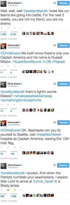 Star-Lord and Captain America prepare to do battle! (AKA Chris Evans and Chris Pratt are extremely invested in the Super Bowl.)