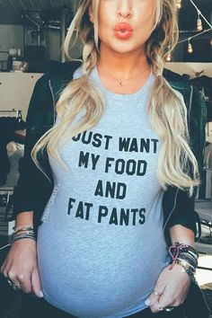 Funny Maternity Shirt | This cute and hilarious pregnancy shirt is perfect for a hip trendy hipster young millennial pregnant mom to be. Just Want My Food and Fat Pants is SO real for pregnant women. This shirt makes the perfect gift idea for a baby shower or pregnancy. Comfy and cute addition to any essential pregnancy wardrobe or to travel while pregnant! #Affiliate #Maternity #PregnancyWardrobe