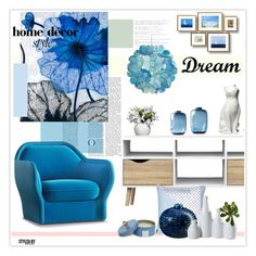 """""""Blue For The Home"""" by marion-fashionista-diva-miller ❤ liked on Polyvore featuring interior, interiors, interior design, home, home decor, interior decorating, Grandin Road, Dot & Bo, Pier 1 Imports and Tvilum"""