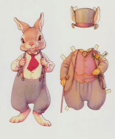 Fred Hopper of the Hopper Family Paper Dolls by Kathy Lawrence (daughter of Queen Holden). It was published by Shackman in 2011. There are three other dolls for purchase separately: a mother rabbit and two bunny children.