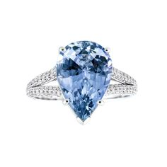 Blue Sapphire Pear Shape Engagement Ring | Sapphire Engagement Rings | Sapphire Bridal Jewelry