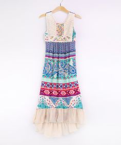 Look at this Me & Ko Jade Paisley Beaded Maxi Dress - Girls on #zulily today!