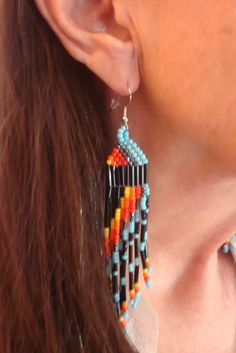 Native American Turquoise Seed Bead Earrings. Only $7.99 Click pic for info.